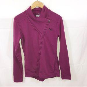 Puma Purple Asymmetrical Zip Sweatshirt Jacket S